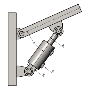 Hydraulic Cylinder at an Angle Calculator