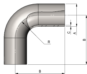 Hygeinic 90? 1x Bend Dimensions