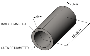 Torsion in a hollow shaft Calculator